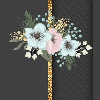 Biglietto di auguri con fiori, acquerello. cornice vettoriale