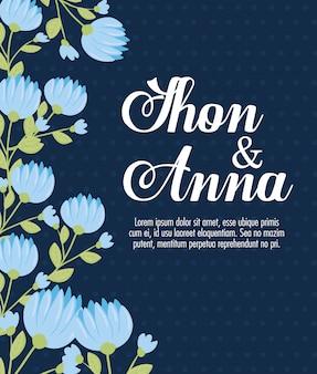 Biglietto di auguri con cornice circolare di fiori di colore blu, invito a nozze con fiori di colore rosa decorazione