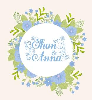 Biglietto di auguri con cornice circolare di fiori di colore blu, invito a nozze con fiori rosa