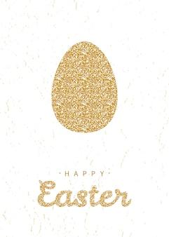 Biglietto di auguri con scintillante uovo di pasqua d'oro