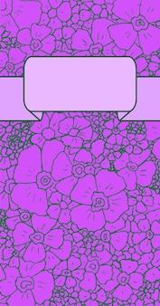 Biglietto di auguri con fiori di ciliegio disegnati a mano su uno sfondo viola e posto per il testo