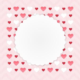 Biglietto di auguri con cuori su un rosa. illustrazione vettoriale