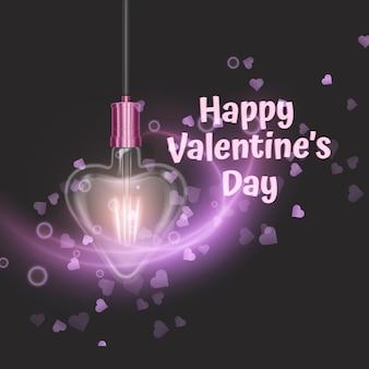 Biglietto di auguri con lampada incandescente a forma di cuore.