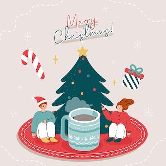 Biglietto di auguri con persone che bevono tè con elementi natalizi