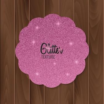 Biglietto di auguri con sfondo rosa glitter.