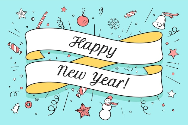 Biglietto di auguri con nastro rosso e scritta happy new year sul tema natalizio. felice anno nuovo e natale sfondo colorato.