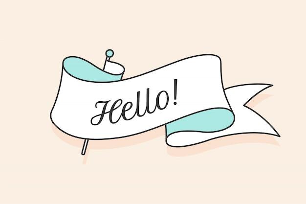 Biglietto di auguri con nastro e parola ciao. nastro bianco alla moda in stile retrò per carta o banner su sfondo chiaro. illustrazione