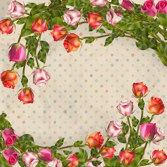 Biglietto di auguri con rose, può essere utilizzato come carta di invito per matrimoni, compleanni e altre vacanze e sfondo estivo. file incluso Vettore Premium