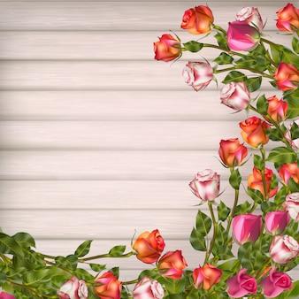 Biglietto di auguri con rose, può essere utilizzato come carta di invito per matrimoni, compleanni e altre vacanze e sfondo estivo. file incluso