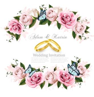 Biglietto di auguri con rose, biglietto d'invito per il matrimonio. illustrazione vettoriale.