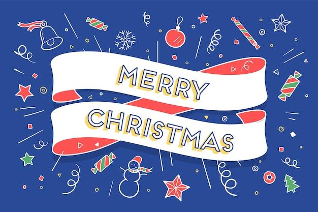 Biglietto di auguri con nastro alla moda e testo buon natale per tema natalizio.