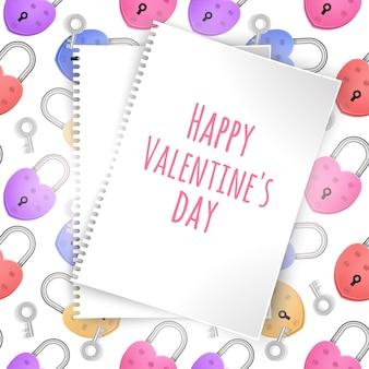 Biglietto di auguri con foglio di carta bianco e cuciture colorate per san valentino
