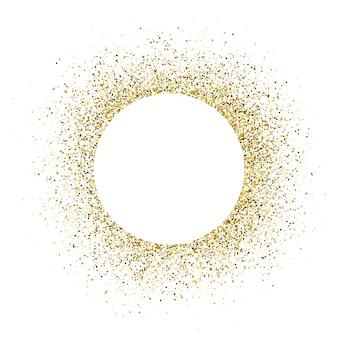 Biglietto di auguri con cornice rotonda bianca su sfondo glitter dorato. sfondo bianco vuoto. illustrazione vettoriale.