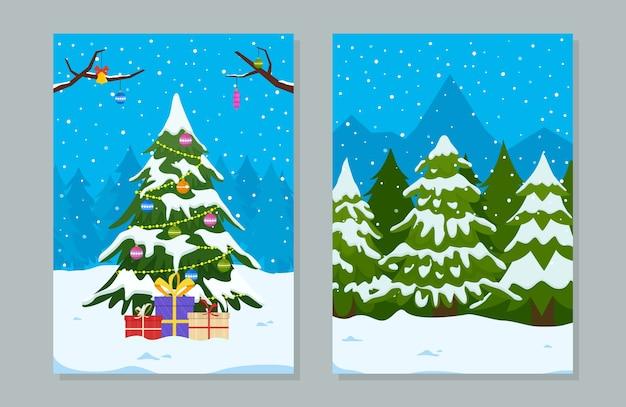 Biglietti di auguri con albero di natale con regali e decorazioni sul paesaggio invernale.