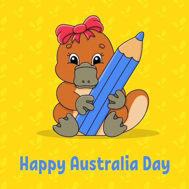 Saluto carta quadrata di colore. buona giornata australiana. l'ornitorinco simpatico cartone animato tiene una matita tra le zampe.