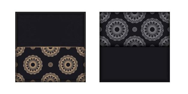Modello di volantino di auguri in colore nero con ornamento di lusso marrone