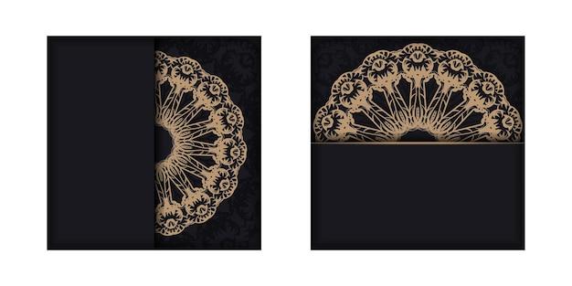 Modello di volantino di auguri in nero con motivo di lusso marrone