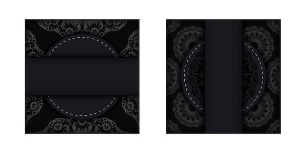 Modello di volantino di auguri in nero con motivo vintage