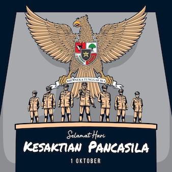 Saluto kesaktian pancasila giorno 1 ottobre illustrazione
