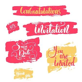Saluto lettering impostato per il giorno delle nozze. illustrazione vettoriale