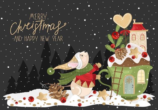 Il saluto buon natale con la coppa festosa, topo