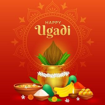 Saluto felice tradizionale ugadi gudhi per la festa del capodanno indiano gudi padwa