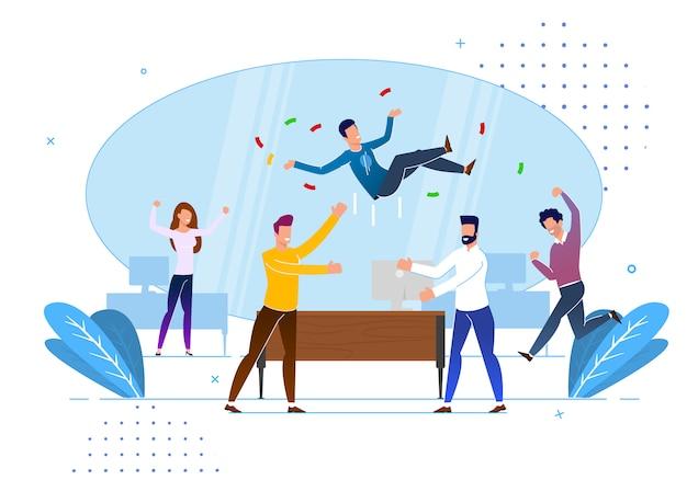 Saluti da colleghi in ufficio, cartoni animati.