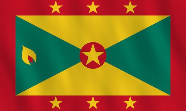Bandiera grenada con effetto ondeggiante, proporzione ufficiale.
