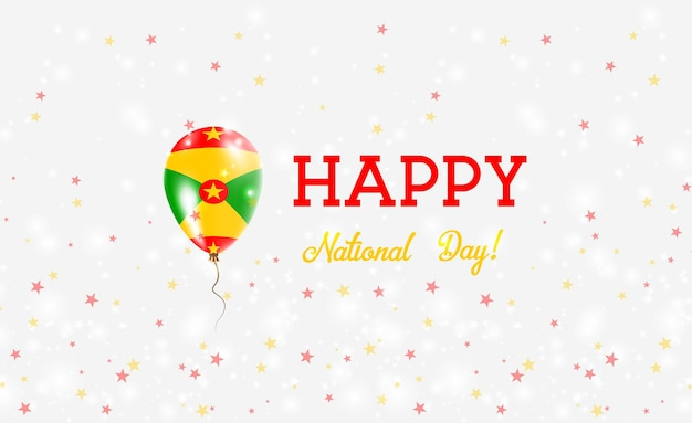 Manifesto patriottico della giornata nazionale di grenada. palloncino di gomma volante nei colori della bandiera greca. sfondo festa nazionale di grenada con palloncino, coriandoli, stelle, bokeh e scintillii.