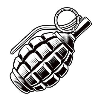 Illustrazione in bianco e nero di granata. Vettore Premium
