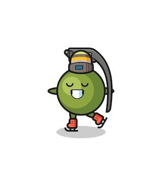 Cartone animato granata come un giocatore di pattinaggio sul ghiaccio che si esibisce, design in stile carino per maglietta, adesivo, elemento logo