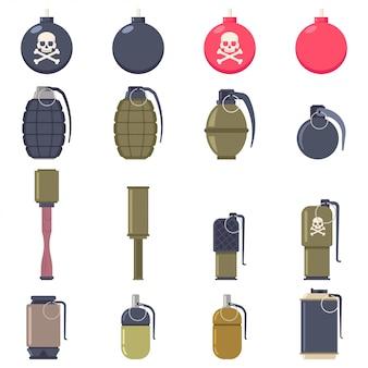 Insieme del piano del fumetto di vettore delle bombe e delle granate isolato
