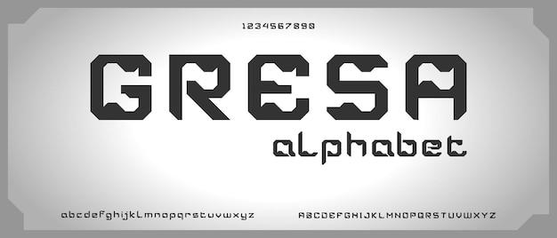 Gresa, alfabeto moderno elegante astratto con modello di stile urbano