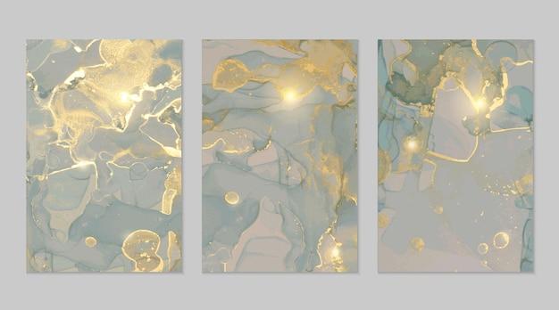 Trame astratte in marmo grigio blu e oro