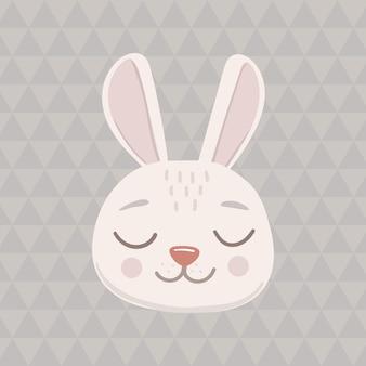 Icona ovale del viso testa di coniglio grigio con gli occhi chiusi. simpatico personaggio divertente del fumetto. collezione di stampe per bambini per animali domestici. buon san valentino. stile scandinavo isolato su uno sfondo triangolare. vettore