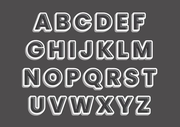 Set di alfabeti effetto stile design grigio carbonio