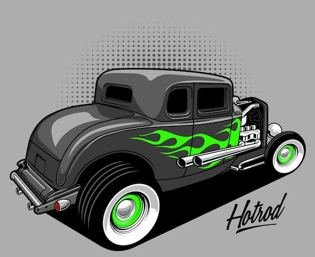 Illustrazione di hotrod classico grigio