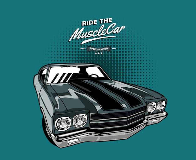 Muscle car classica grigia Vettore Premium