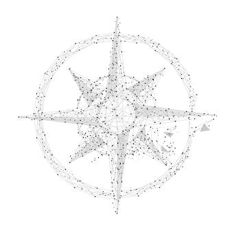 Rosa dei venti grigia con linea poligonale su sfondo astratto spazio poligonale basso poli con connessione