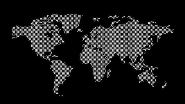 Mappa del mondo tratteggiata grigia