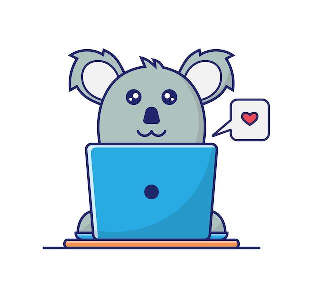 Koala grigi che funzionano con laptop blu e amore, illustrazione da tavolo marrone