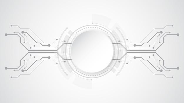 Sfondo grigio bianco astratto di tecnologia con vari elementi tecnologici sfondo di innovazione di concetto di comunicazione hi-tech cerchio di spazio vuoto per il tuo testo