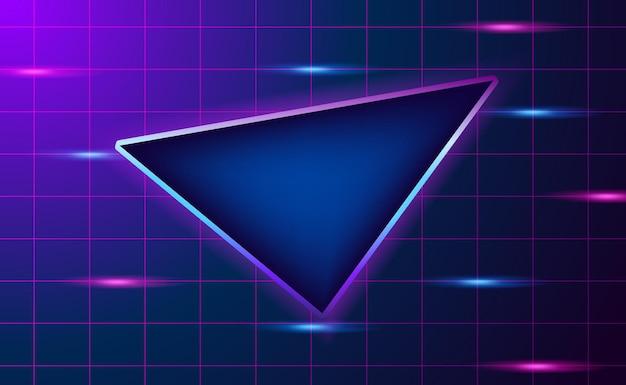 Griglia di sfondo scuro con triangolo e neon rosa e blu