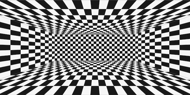 Stanza in bianco e nero di prospettiva di griglia. priorità bassa del wireframe di scacchi. modello di tecnologia cyber box digitale. modello di illusione astratta vettoriale