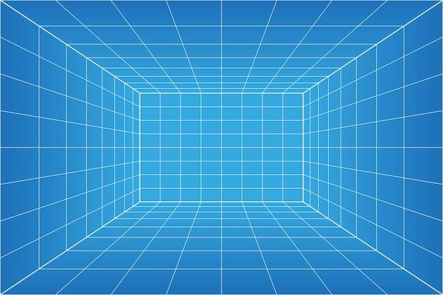 Stanza del progetto di prospettiva di griglia. sfondo di carta millimetrata wireframe. modello di tecnologia cyber box digitale. modello architettonico vuoto vettoriale