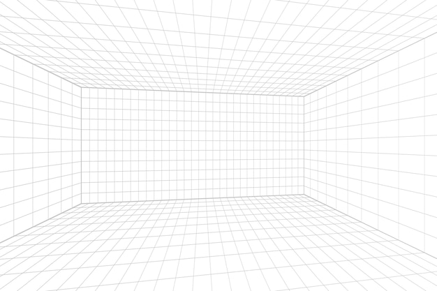 Stanza bianca di prospettiva di griglia con il fondo grigio del wireframe. modello di tecnologia cyber box digitale. modello architettonico astratto di vettore