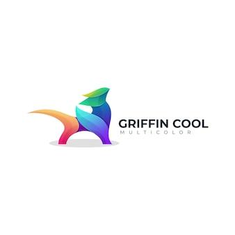Modello di logo sfumato colorato griffin