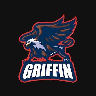 Griffin esport mascotte cartoon logo template vettoriale