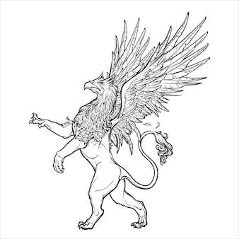 Creatura leggendaria di grifone, grifone o grifone della mitologia greca