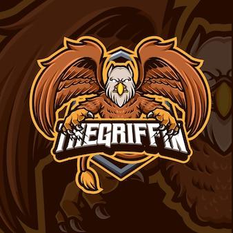 Disegno del logo del gioco esport della mascotte del grifone